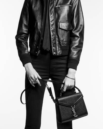 cassandra mini top handle bag in crocodile-embossed shiny leather