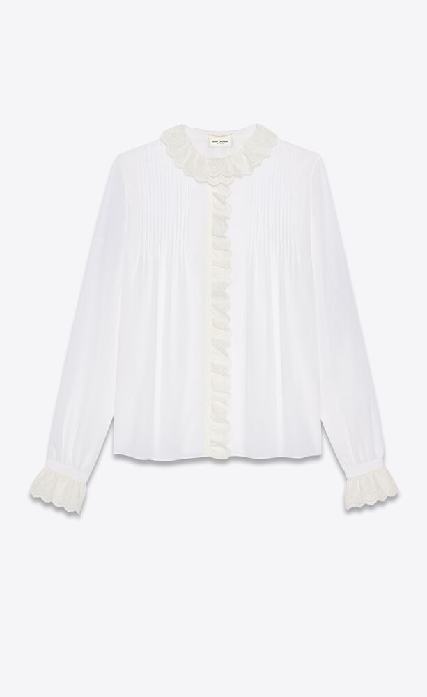 broderie anglaise frilled blouse in cotton voile