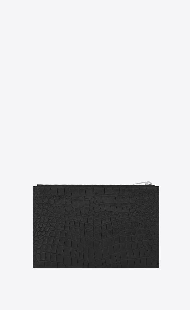 minifunda para tableta saint laurent paris con cremallera de piel repujada de cocodrilo