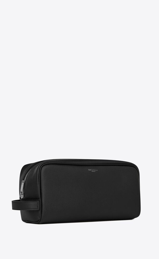 grooming case in grain de poudre embossed leather