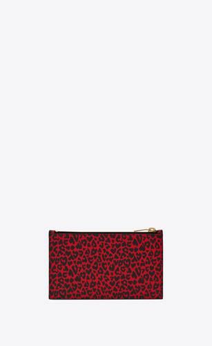 pochette pequeña con firma saint laurent paris de piel con estampado de leopardo