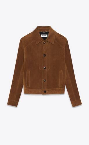 short buttoned jacket in vintage suede