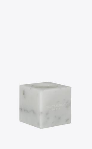 cube-shaped candle holders in marble