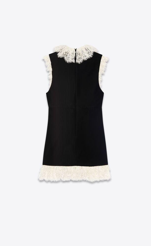 robe courte en velours et bordures en dentelle