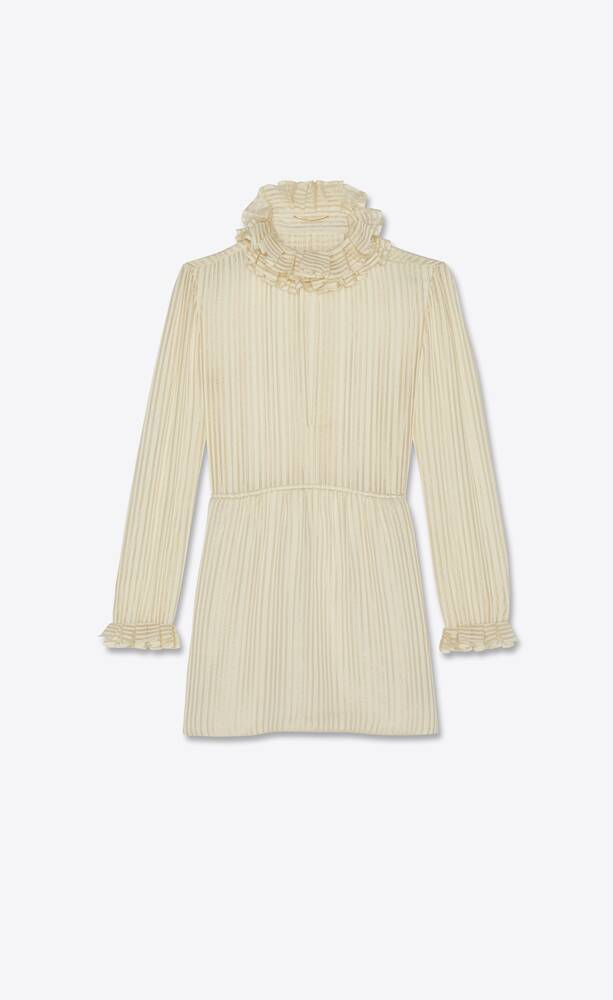 ruffled dress in lamé striped silk