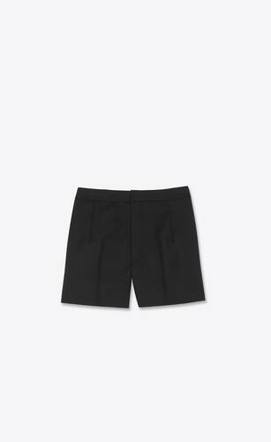 pleated mini shorts in wool  gabardine