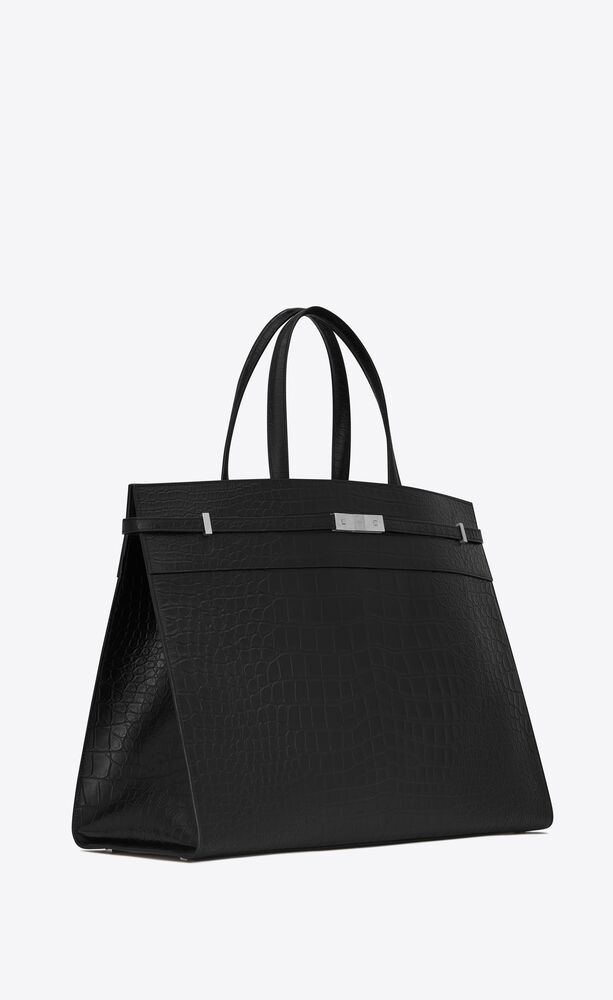 large manhattan shopping bag in mat crocodile-embossed leather