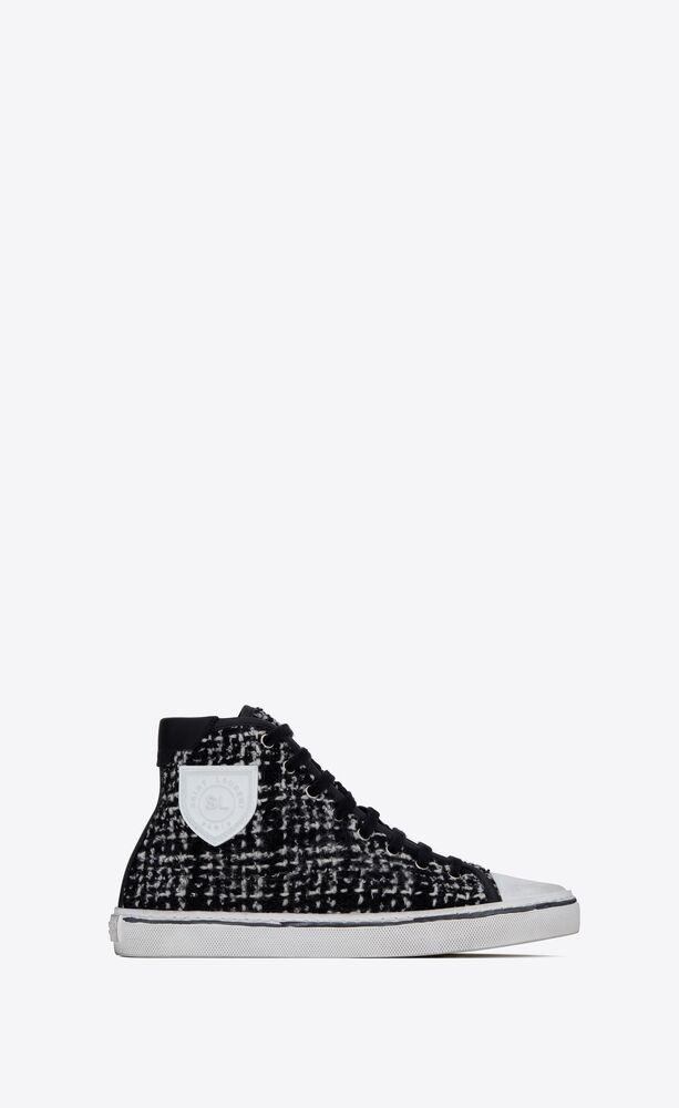 bedford sneakers en tweed et cuir