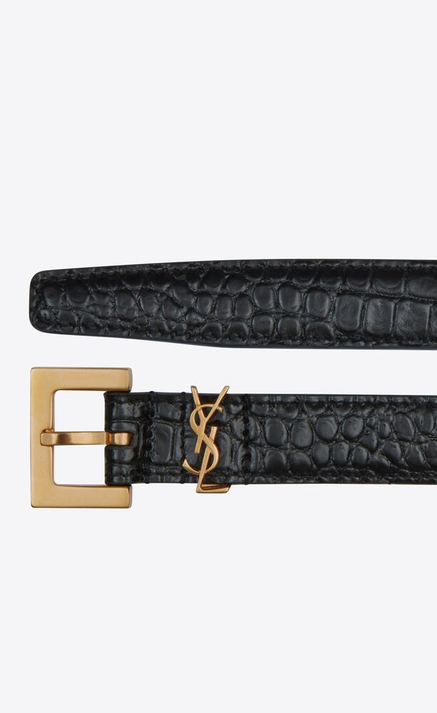 monogram narrow belt with square buckle in crocodile embossed leather