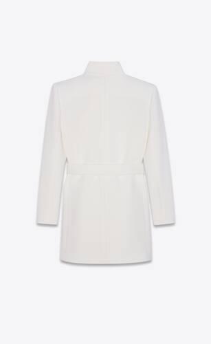 veste longue ceinturée en jersey de laine