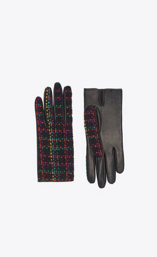 gloves in multicolor tweed and leather