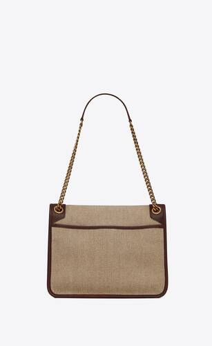 niki medium in linen canvas and leather