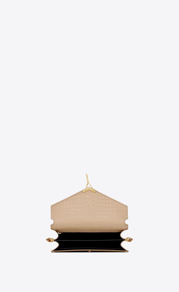カサンドラ モノグラム クラスプバッグ(シャイニーレザー/クロコダイルエンボス)