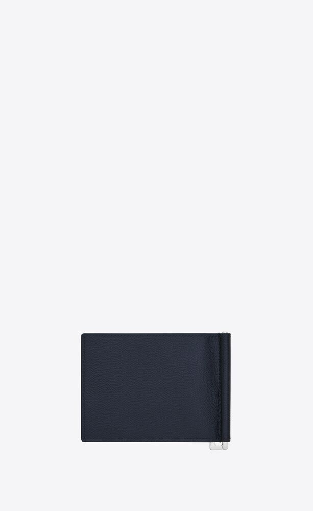 bill clip wallet in grain de poudre embossed leather