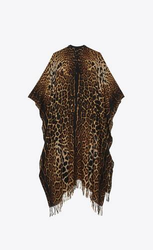 fringed leopard-print poncho in alpaca and wool canvas