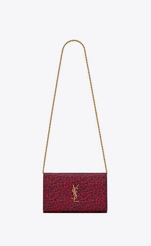 cartera con cadena monogram de piel con estampado de leopardo