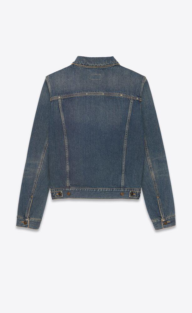 fitted jacket in dark dirty vintage blue denim