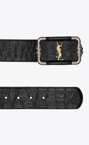 monogram vintage belt in crocodile-embossed leather
