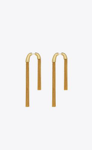 asymmetrical tassel earrings in metal