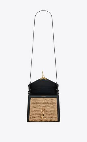 cassandra mini top handle bag in raffia and leather