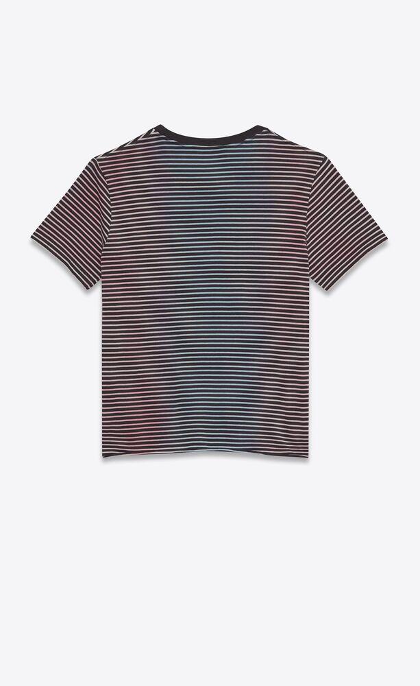 camiseta de punto con motivo de rayas y monograma con tratamiento teñido atado