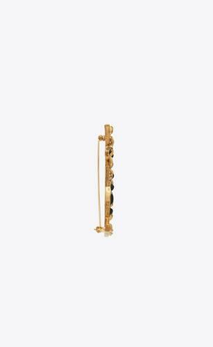opyum ysl crocodile brooch in gold brass and black enamel