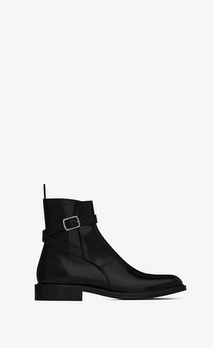 army jodhpur booties in shiny leather