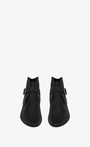 dixon buckled boots in crocodile-embossed leather