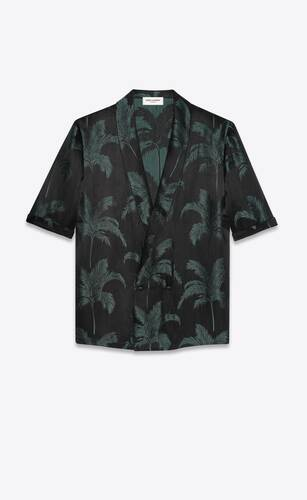 robe shirt in palm satin jacquard