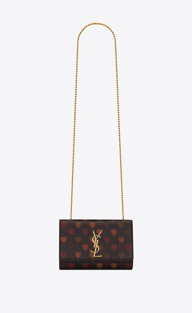 kate small chain bag in heart-embossed vintage lambskin
