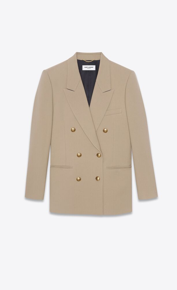 veste à double boutonnage en gabardine de laine