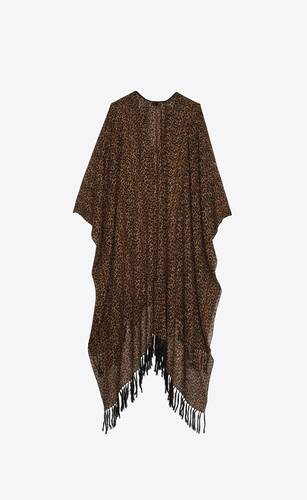 fringed poncho in heart-shaped leopard-print wool etamine