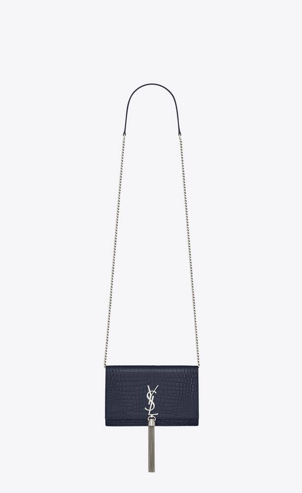 kate chain wallet with tassel in crocodile embossed shiny leather
