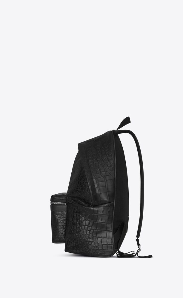 city backpack in crocodile embossed leather