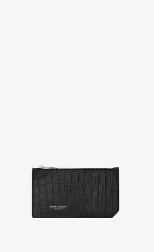 fragments zipped card case in crocodile embossed leather