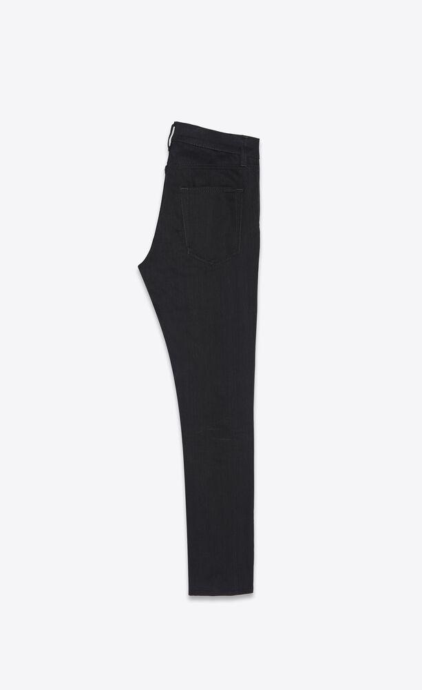 cropped skinny-fit jeans in used black stretch denim