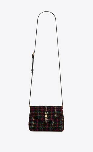 loulou toy bag in checked tweed and supple leather