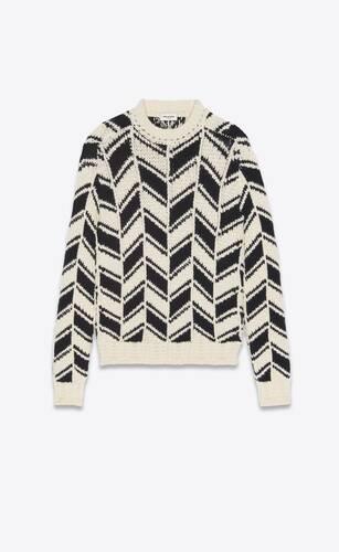 sweater in monochrome chevron jacquard