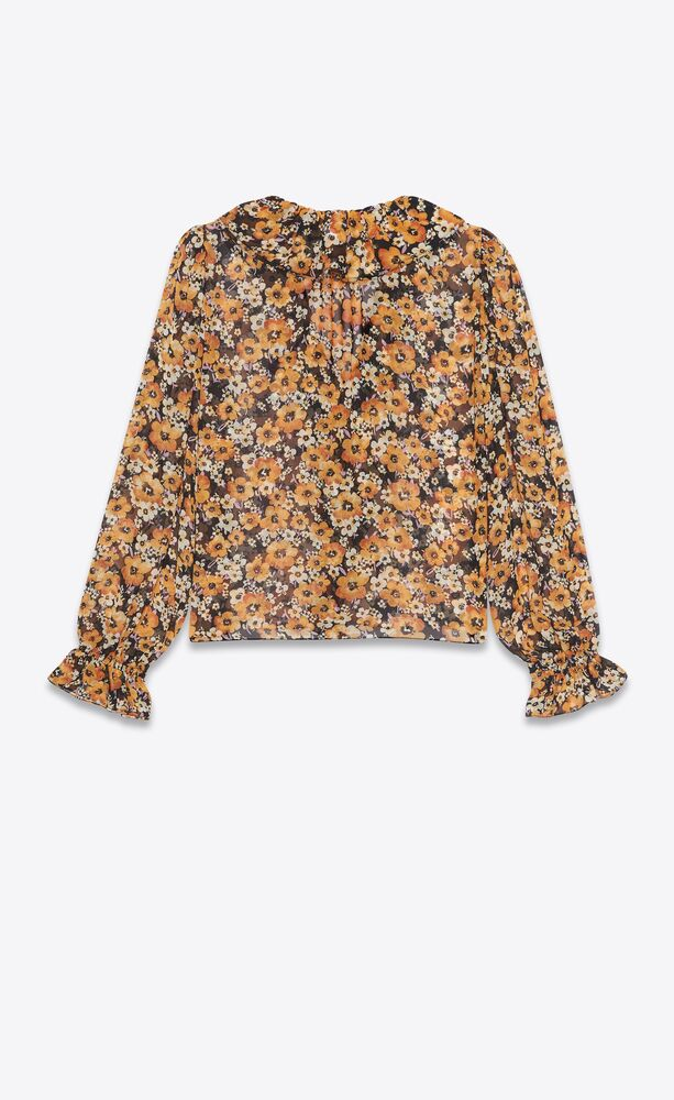 frilled tie blouse in floral silk georgette