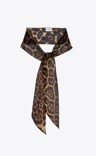 leopard-print lavallière scarf in wool etamine
