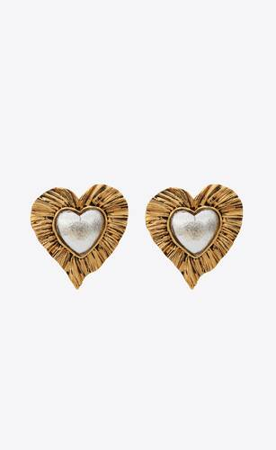 héritage radiating heart earrings in metal and resin