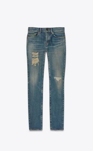 distressed skinny jeans in dirty sandy blue