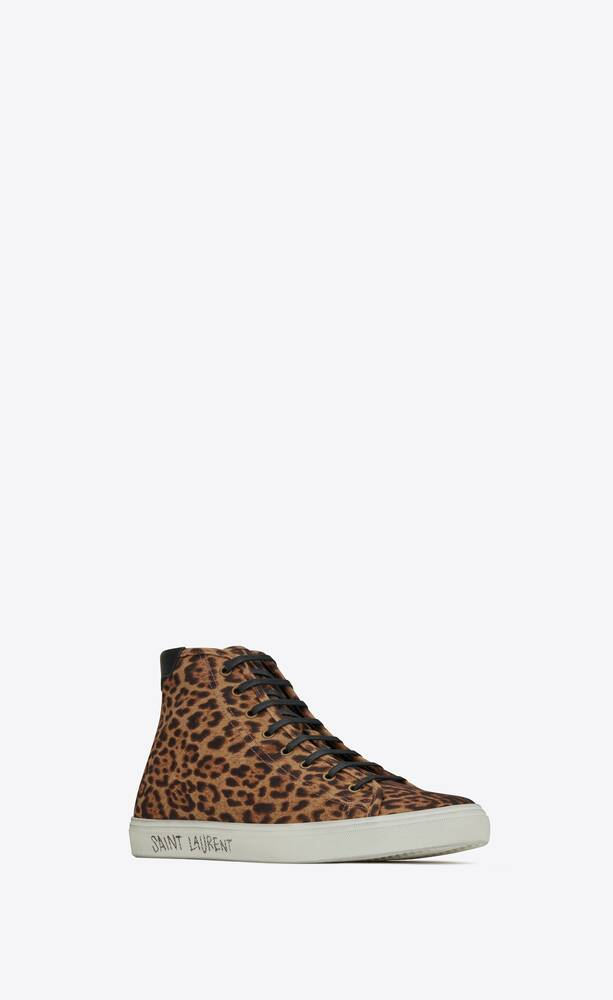 malibu mid-top sneakers in leopard-print canvas and leather