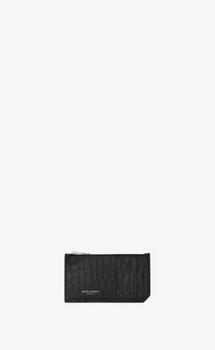 astuccio fragments con zip nero in coccodrillo stampato