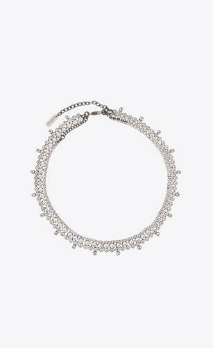 triple-strand crystal necklace in metal