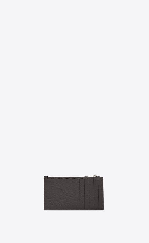 monogram fragments porte-cartes zippé en cuir matelassé et embossé grain de poudre