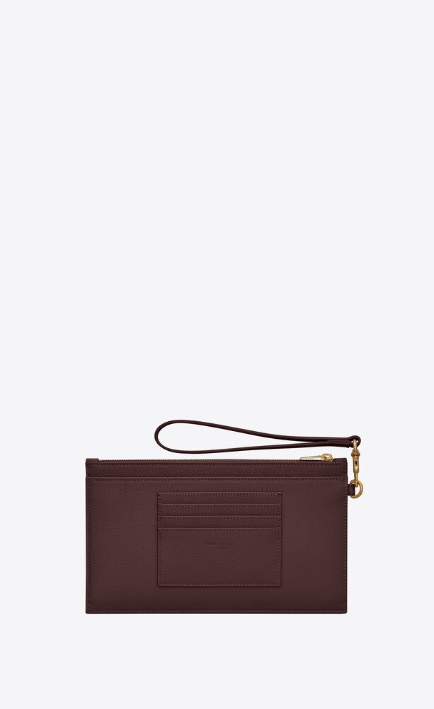 monogram large bill pouch in grain de poudre embossed leather
