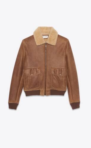 chaqueta estilo aviador de piel de oveja con piel de borrego