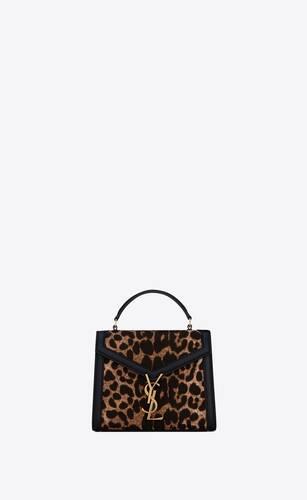 cassandra mini top handle bag in leopard-print canvas and box saint laurent leather