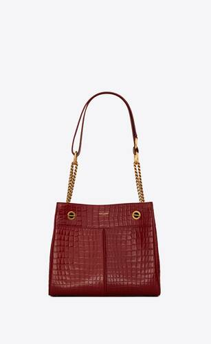 claude shopping bag in crocodile-embossed leather